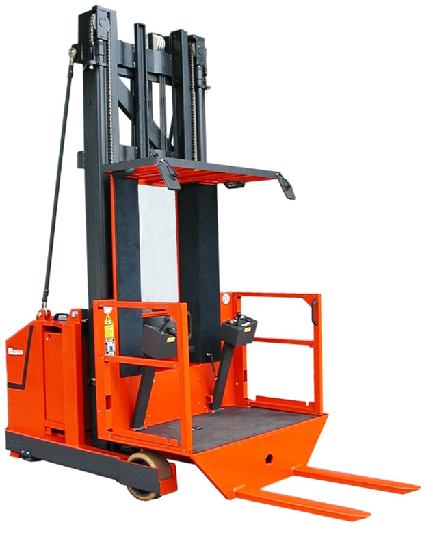 EV order selecting forklift with split rear controls and fork facing seat