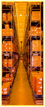 High bay very narrow aisle storage in wire guided aisle serviced with an EK turret forklift