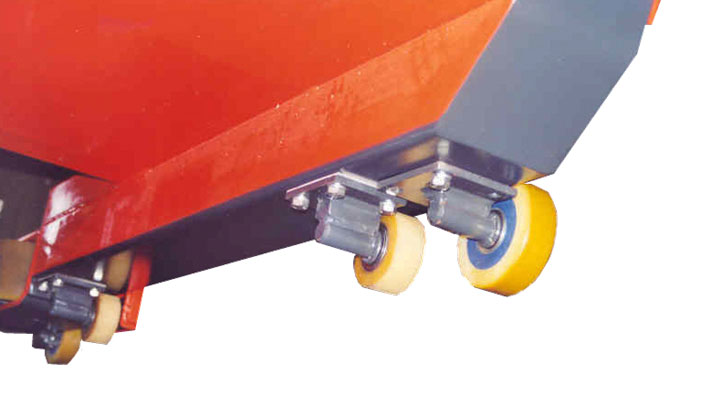 Guide rollers provide alignment in narrow aisles