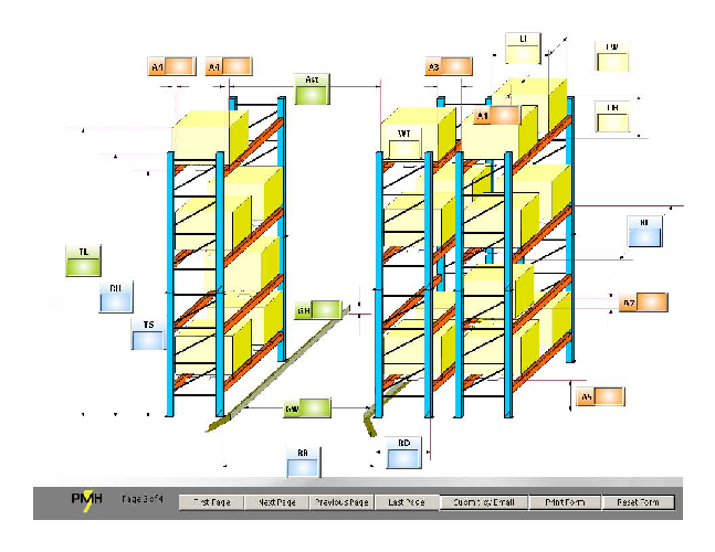 Warehouse layout pictured for system dimensioning